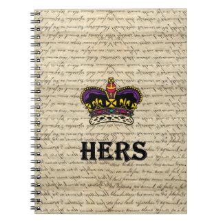 Funny hers text & crown spiral notebook