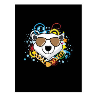 Funny Hip-Hop Polar Bear Picture Postcard