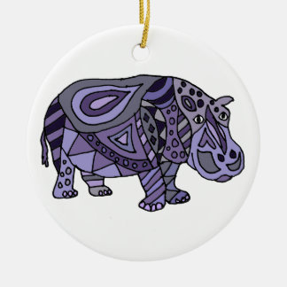 Funny Hippo Abstract Art Round Ceramic Ornament