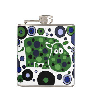 Funny Hippo Art Abstract Flasks
