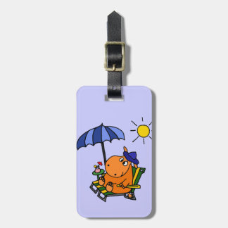 Funny Hippo at the Beach Luggage Tag