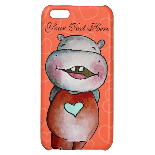 Funny Hippo with hearts iPhone5 Case Case For iPhone 5C