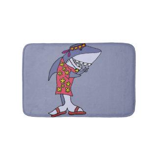 Funny Hippy Shark at the Beach Bath Mat