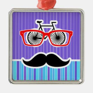 Funny Hipster; Blue & Purple Stripes Christmas Tree Ornament