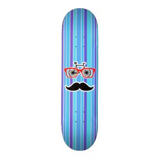 Funny Hipster; Blue & Purple Stripes Custom Skate Board