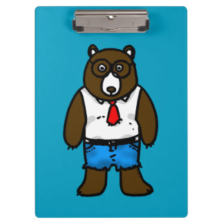 funny hipster brown bear clipboard