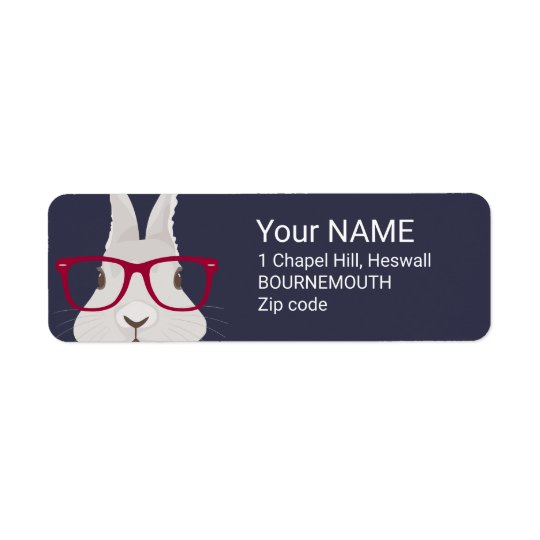 Funny Hipster Easter bunny with red rim glasses