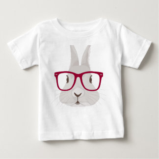 Funny Hipster Easter bunny with red rim glasses Baby T-Shirt