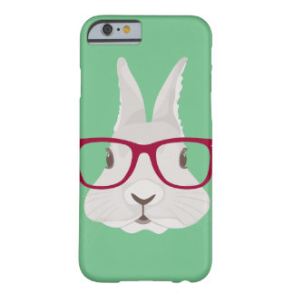 Funny Hipster Easter bunny with red rim glasses Barely There iPhone 6 Case