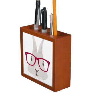 Funny Hipster Easter bunny with red rim glasses Desk Organizer