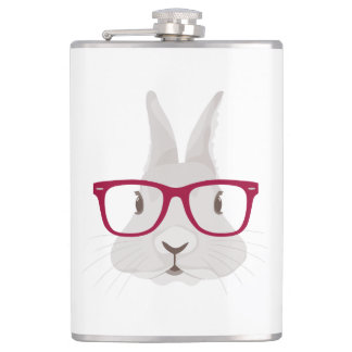 Funny Hipster Easter bunny with red rim glasses Flask