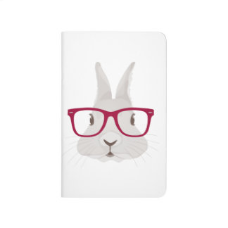 Funny Hipster Easter bunny with red rim glasses Journals