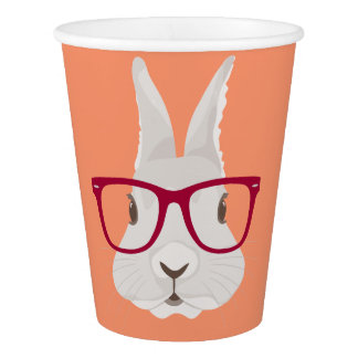 Funny Hipster Easter bunny with red rim glasses Paper Cup