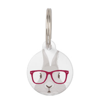 Funny Hipster Easter bunny with red rim glasses Pet Name Tag