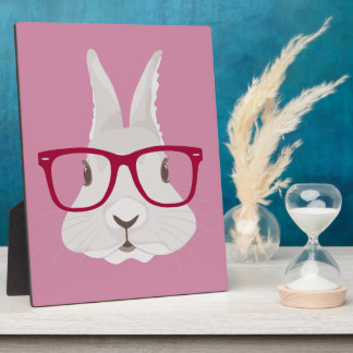 Funny Hipster Easter bunny with red rim glasses Plaque