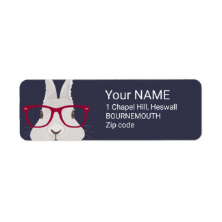Funny Hipster Easter bunny with red rim glasses Return Address Label