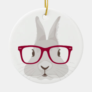 Funny Hipster Easter bunny with red rim glasses Round Ceramic Ornament