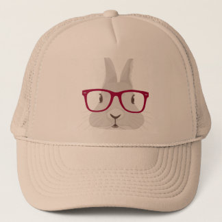 Funny Hipster Easter bunny with red rim glasses Trucker Hat