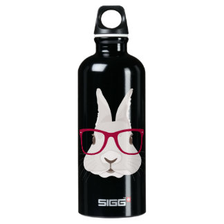Funny Hipster Easter bunny with red rim glasses Water Bottle