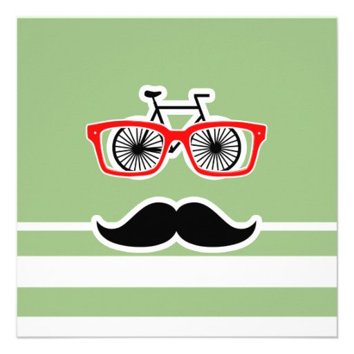 Funny Hipster; Laurel Green Horizontal Stripes Personalized Invitations