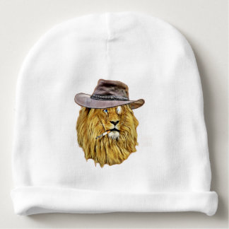 Funny Hipster Lion Baby Beanie