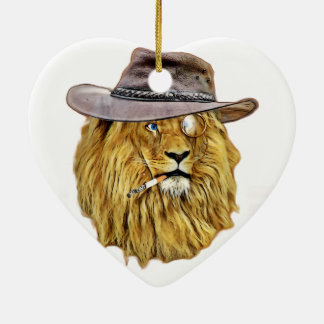 Funny Hipster Lion Ceramic Heart Ornament