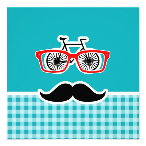 Funny hipster mustache; Blue-Green Gingham Personalized Announcements