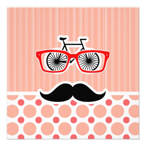 Funny Hipster Mustache; Coral & Pink Dots Personalized Invite