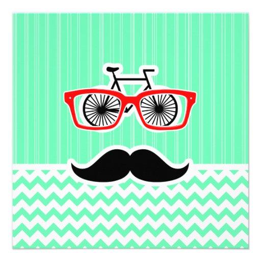 Funny Hipster Mustache; Green Chevron Invitation