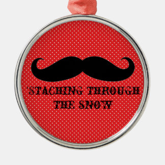 Funny hipster mustache holiday xmas mustaches Silver-Colored round ornament