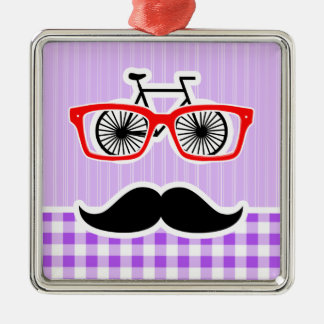 Funny Hipster Mustache Purple Gingham Christmas Ornament