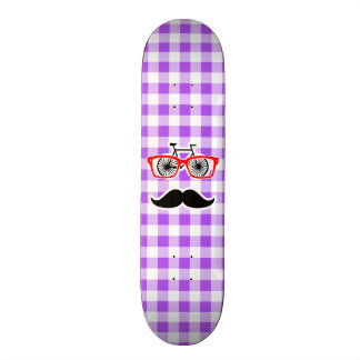 Funny Hipster Mustache Purple Gingham Skateboard