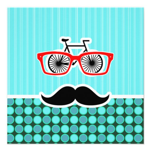 Funny Hipster; Turquoise Polka Dots Personalized Announcement