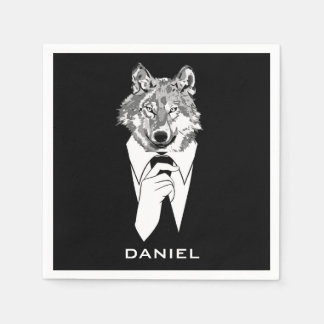 Funny Hipster Wolf with Black Tuxedo Personalized Paper Napkins