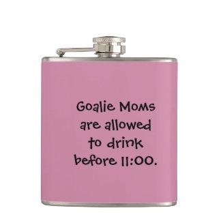"Funny Hockey Drink Flask - ""Goalie Moms..."""