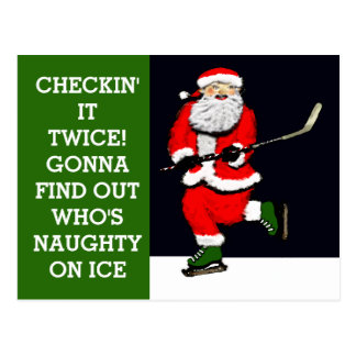 Funny Hockey Holidays Postcard