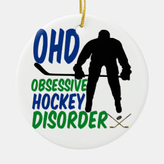Funny Hockey Round Ceramic Ornament