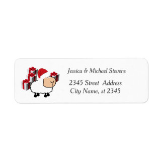 Funny holiday cartoon Santa white sheep