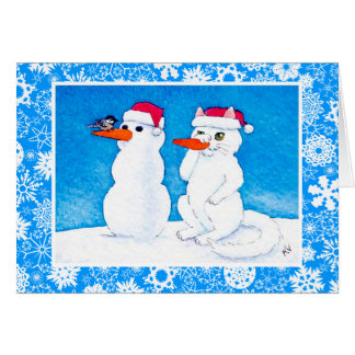 Funny holiday cat, bird,  snowman card
