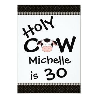 Funny Holy Cow 30th Birthday Party Invitation