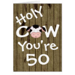 Funny Holy Cow You're 50 Humourous Birthday Greeting Card