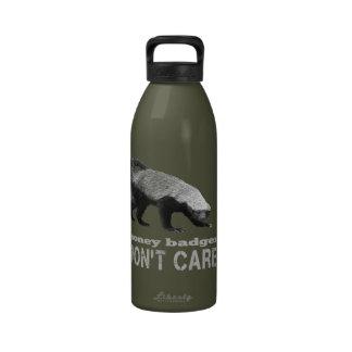Funny Honey Badger Don t Care Saying Water Bottles