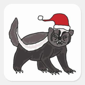 Funny Honey Badger in Santa Hat Square Sticker
