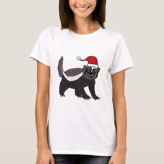 Funny Honey Badger in Santa Hat T-Shirt