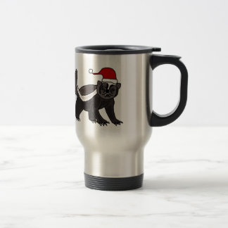 Funny Honey Badger in Santa Hat Travel Mug
