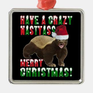 Funny Honey Badger Merry Christmas Ornament