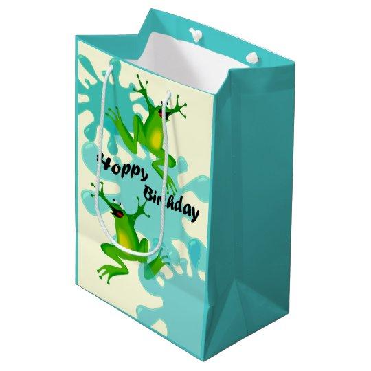 Funny Hoppy Birthday Frog Med Gift Bag