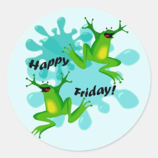 Funny Hoppy Friday Frog Sticker