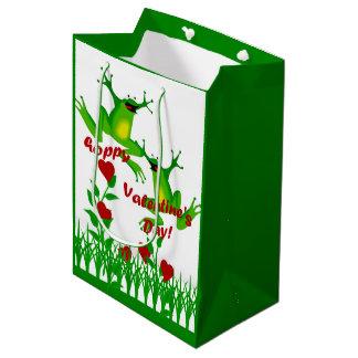 Funny Hoppy Valentine Frog Med Gift Bag