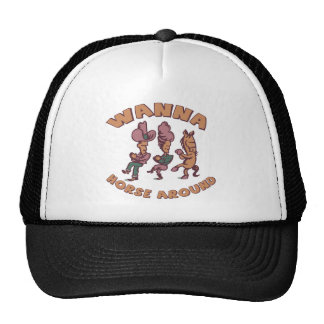 Funny Horse Around T-shirts Gifts Mesh Hats